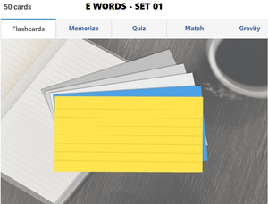 Online Flashcards to learn E Words - Set 01
