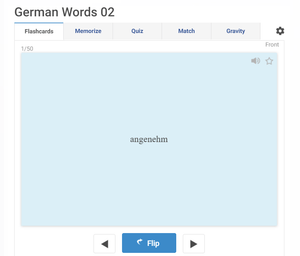 Free online German English flashcards to master 2000 common words
