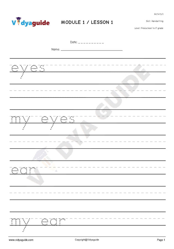 Handwriting worksheets for kids - 01