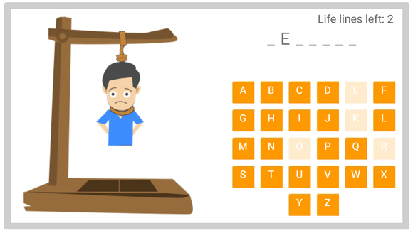 Online hangman puzzle on living and non-living things