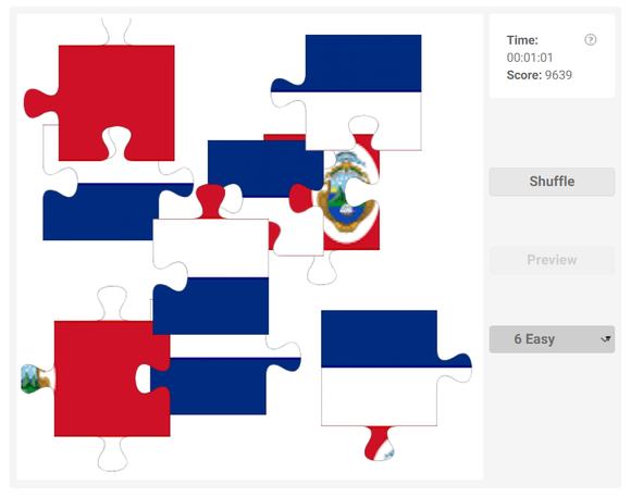 Online jigsaw puzzles for kids - Country flag of Costa Rica