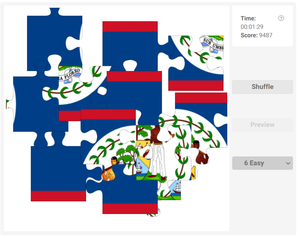 Online jigsaw puzzles for kids - Country flag of Belize