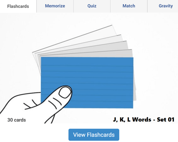 Online Flashcards to learn J, K, L Words - Set 01