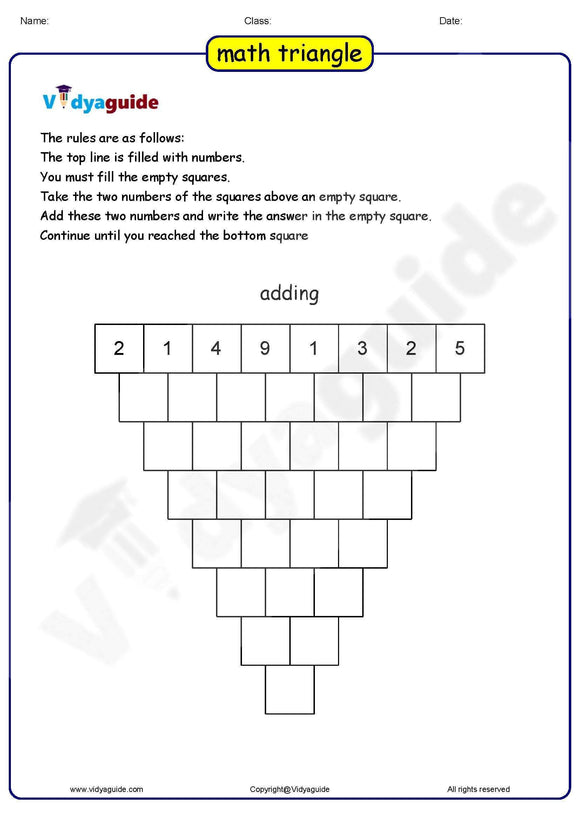 Download Maths triangle puzzles with answers as PDF Worksheet - 01