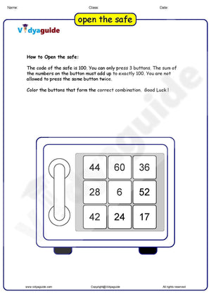 Download Maths puzzles for kids Open the Safe as PDF Worksheet - 01