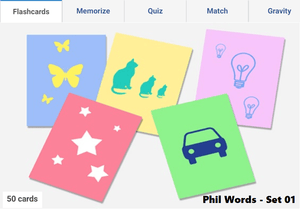 Online flashcards to learn Phil words - Set 01