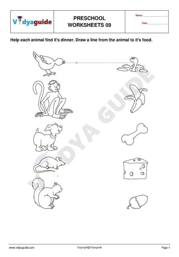 Free Printable Preschool worksheet - 09