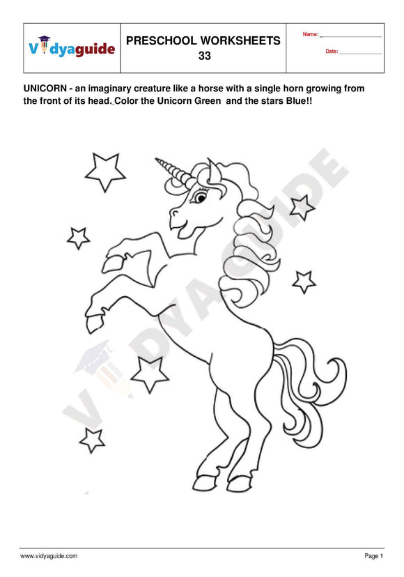 Free Printable Preschool worksheet - 33 to 35