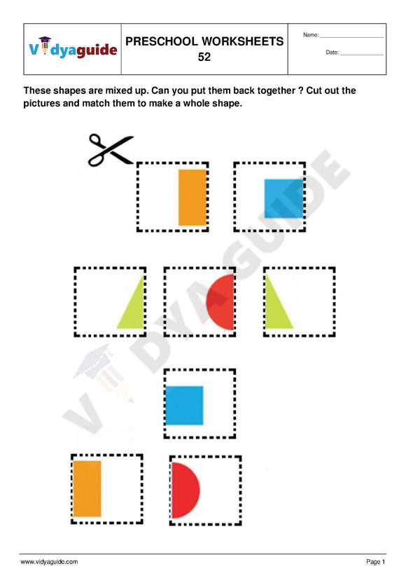 Free Printable Preschool worksheet - 52