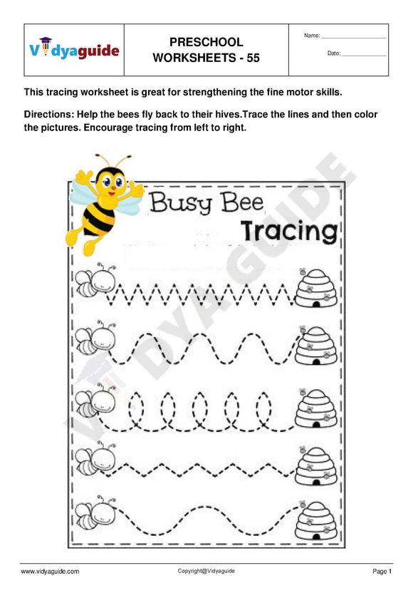 Free Printable Preschool worksheet - 55
