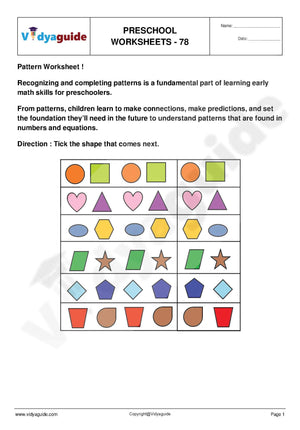 Download free printable Preschool worksheets - 78