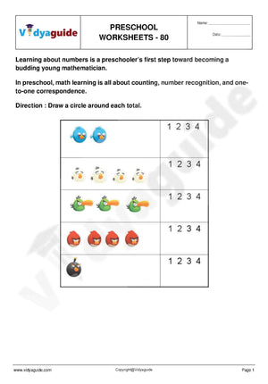 Download free printable Preschool worksheets - 80