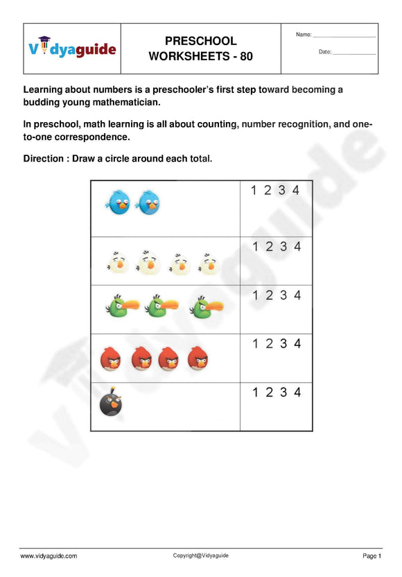 vDownload free printable Preschool worksheets - 80