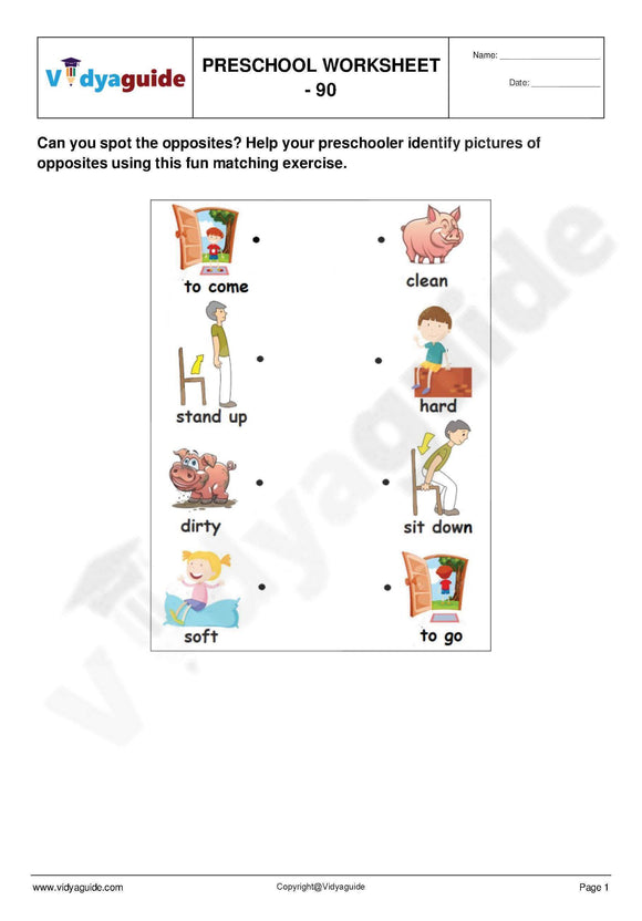 Free Preschool worksheets for download