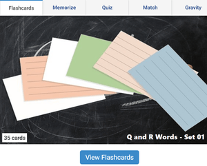 Online Flashcards to learn Q, R Words - Set 01