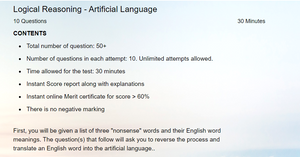 Online Artificial language reasoning questions