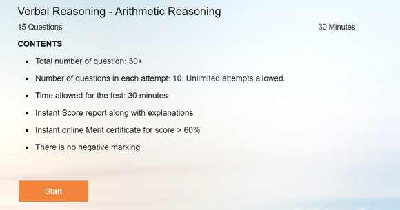 Verbal Reasoning - Online tests on Arithmetic Reasoning