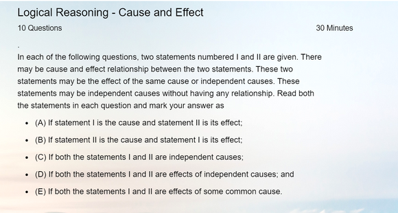 Logical Reasoning - Online tests on Cause and Effect
