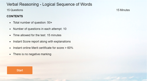 Verbal Reasoning - Online tests on Logical Sequence of words