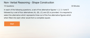 Non Verbal Reasoning Online tests on Shape Construction
