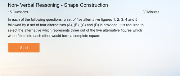 Non-Verbal Reasoning - Online tests on Shape Construction