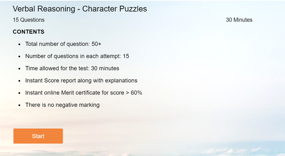 Verbal Reasoning - Online tests on Character puzzles