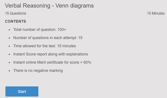 Online test on Venn diagrams in logical reasoning