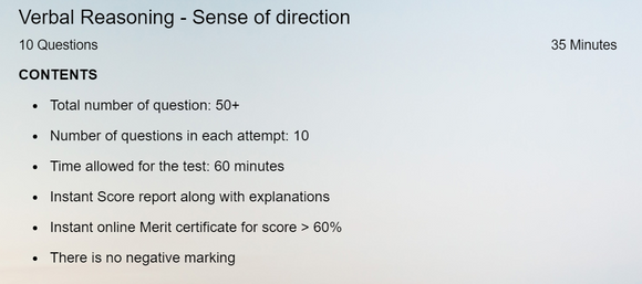 Online test on sense of direction , verbal reasoning