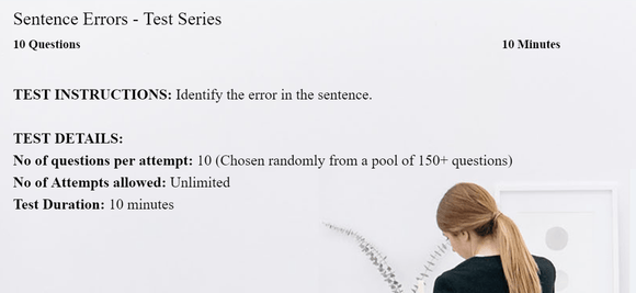 Identifying sentence errors practice tests and exercises