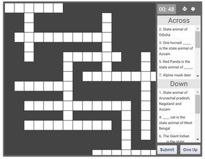 Online crossword puzzle on State Animals of India