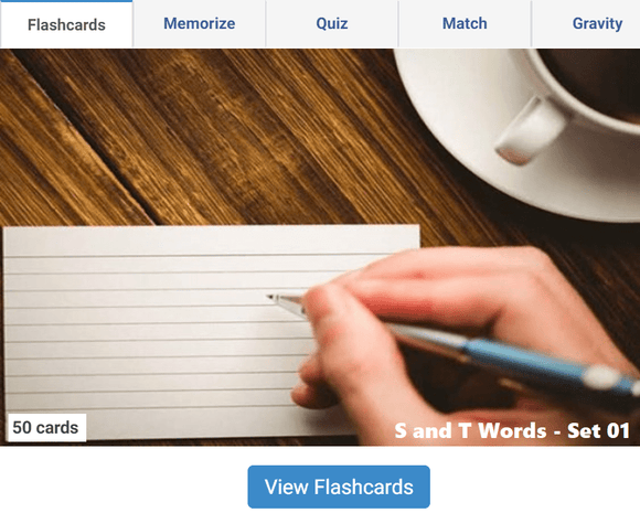 Online Flashcards to learn S, T Words - Set 01