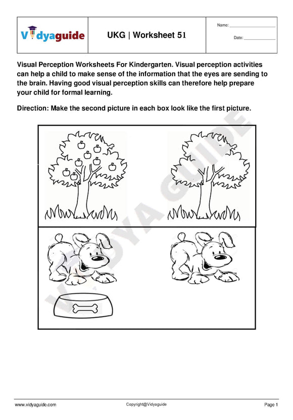 Download UKG free printable practice worksheet - 51