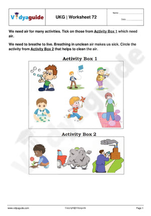 Download Upper Kindergarten UKG worksheets - 72