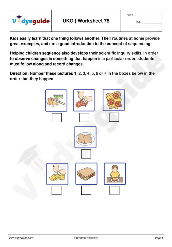 Download Upper Kindergarten UKG worksheets
