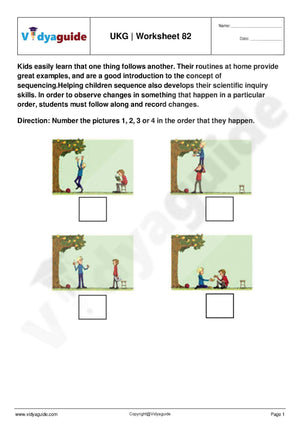 UKG Upper Kindergarten Worksheet PDF free download - 82
