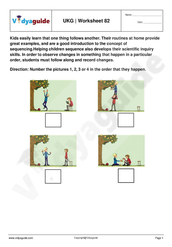 UKG Upper Kindergarten Worksheets PDF free download