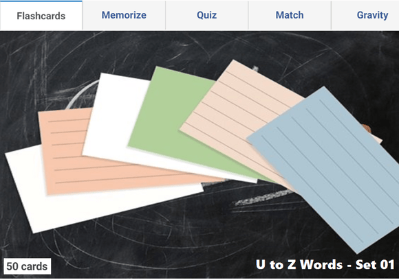 Online Flashcards to learn U to Z Words - Set 01
