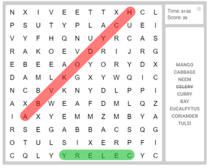 "Online Word Search puzzle for kids on ""Useful leaves"""