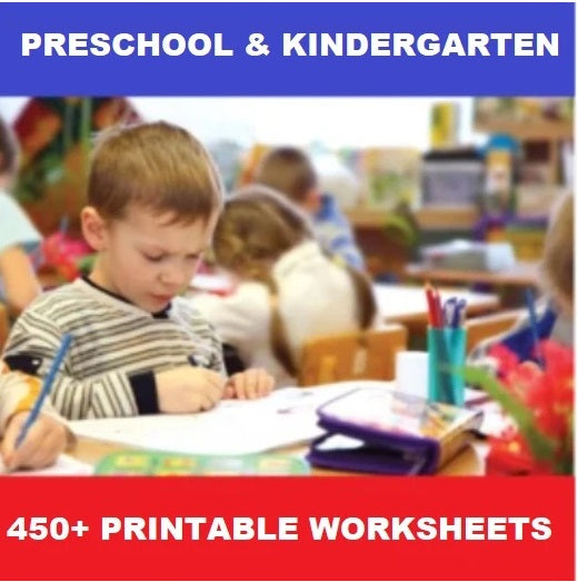 450+ Printable Kindergarten Worksheets PDF - Instant Download - Olympiad
