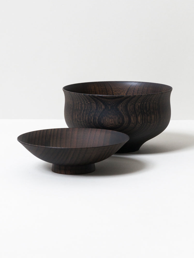 Tsumugi Wooden Bowl with Lid - Chidori (Black)