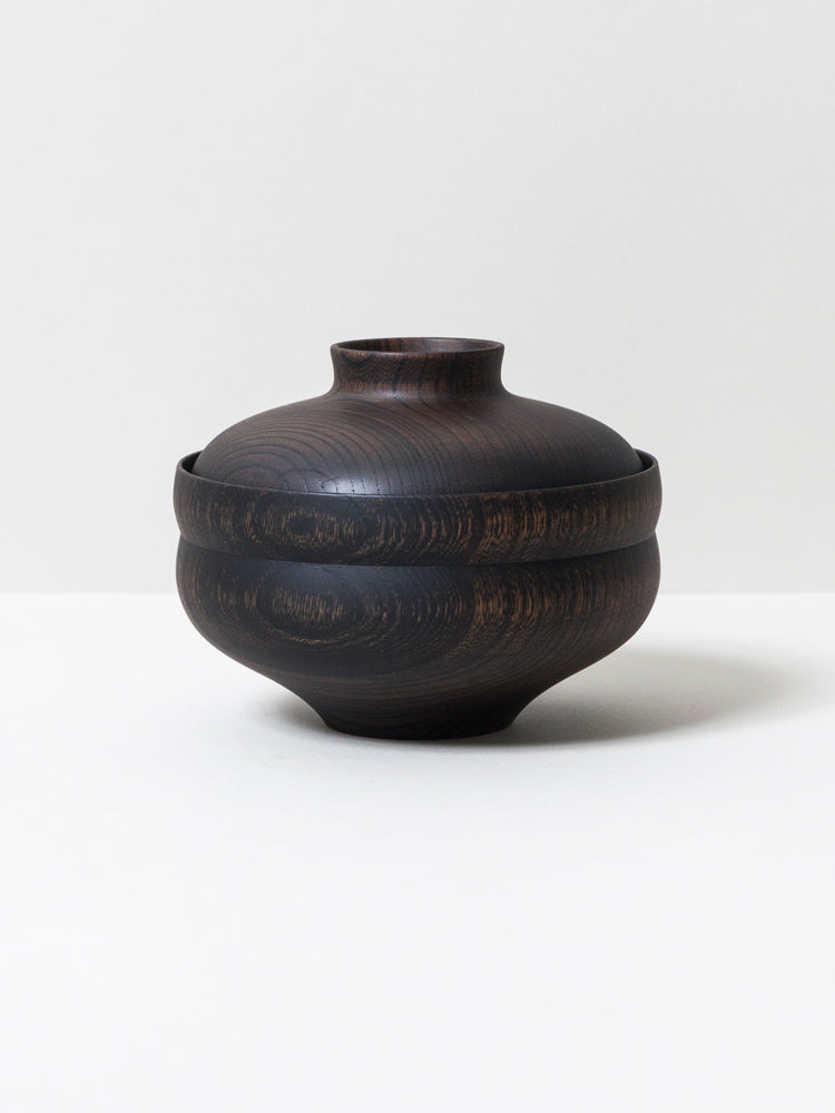 Tsumugi Wooden Bowl with Lid - Gunbai (Black)