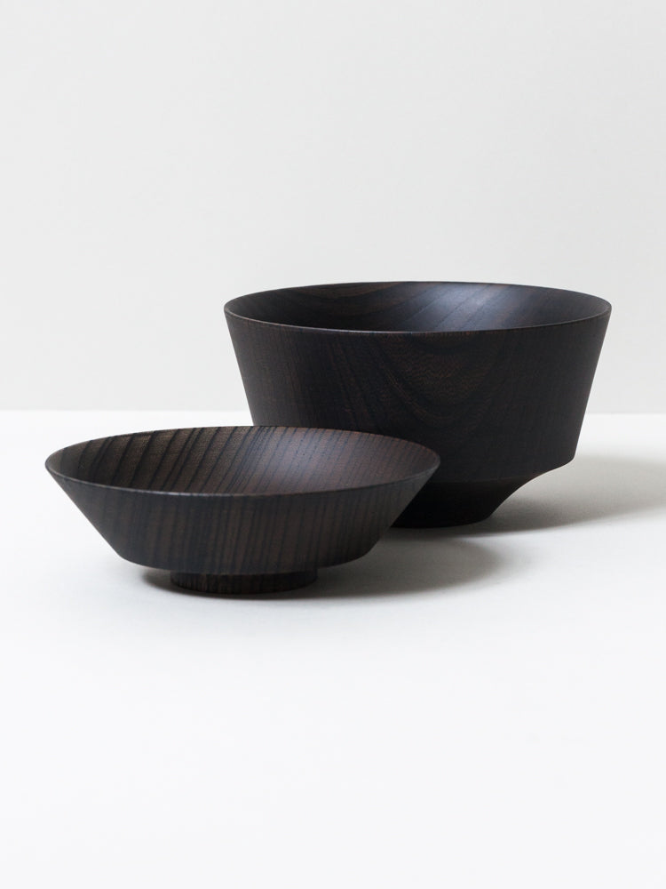 Tsumugi Wooden Bowl with Lid - Hasori (Black)