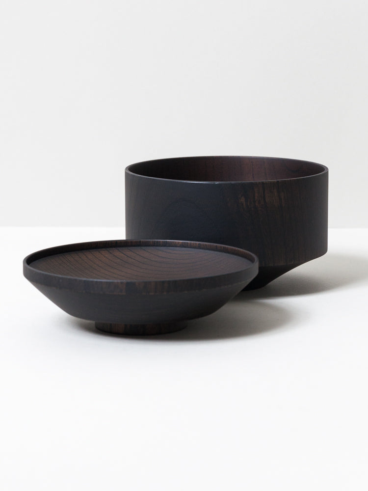 Tsumugi Wooden Bowl with Lid - Mentsuu (Black)