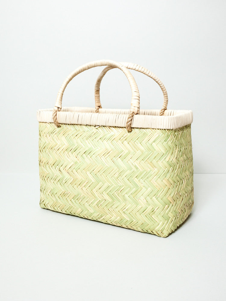 Torigoe Woven Bamboo Basket with Handles - rikumo japan made