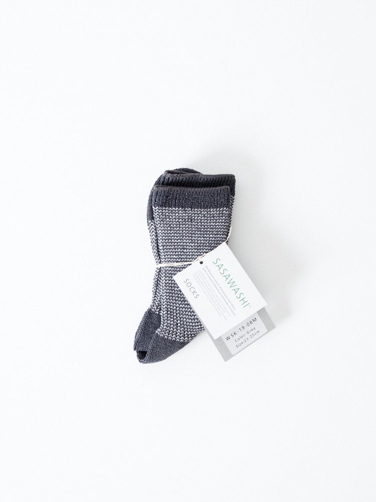 Sasawashi Jacquard Socks, Grey - rikumo japan made