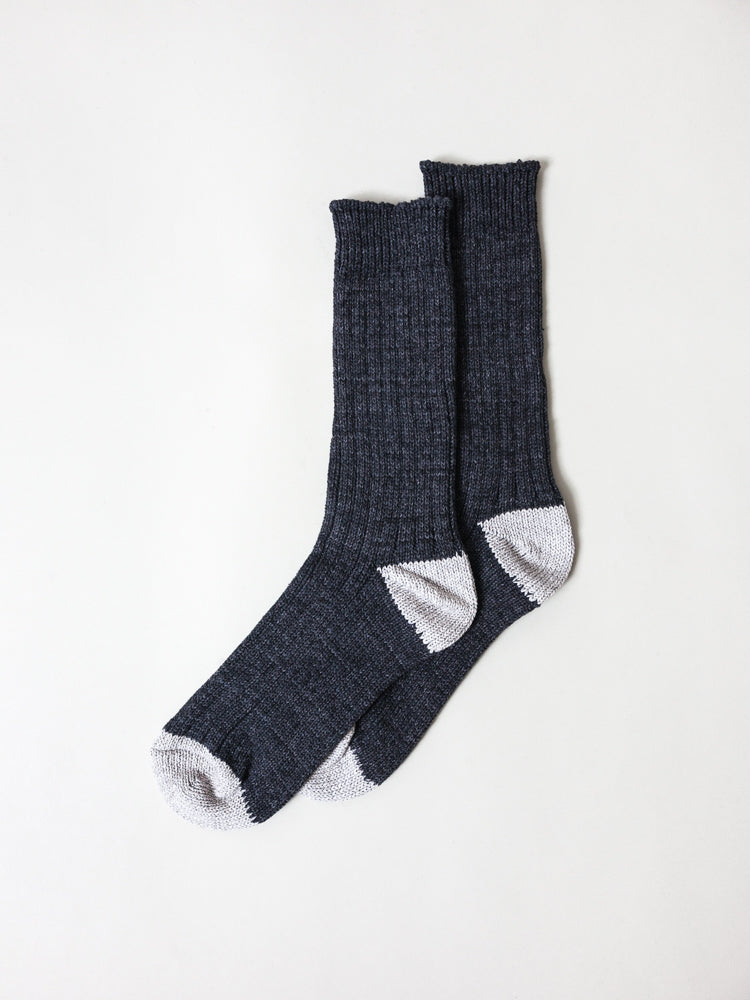Recycled Cotton Ribbed Socks, Charcoal