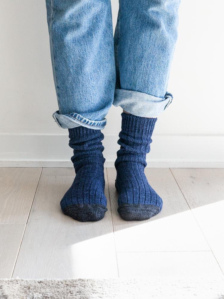 Recycled Cotton Ribbed Socks, Denim