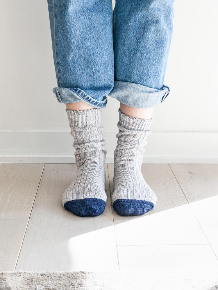 Recycled Cotton Ribbed Socks, Light Grey