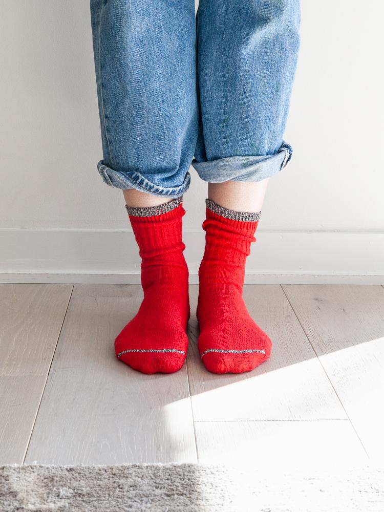 Silk Cotton Socks, Red