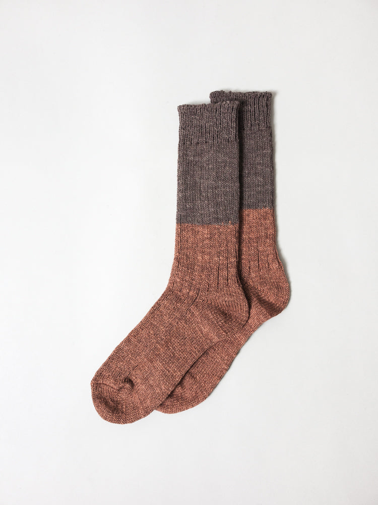Wool Cotton Slab Socks, Brown